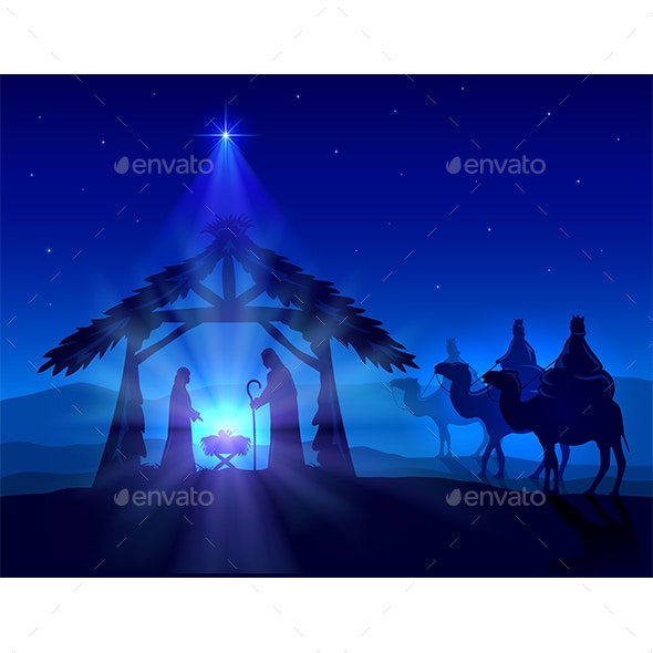 Jesus Christmas Pic.Christian Christmas On Blue Background With Wise Men And Jesus