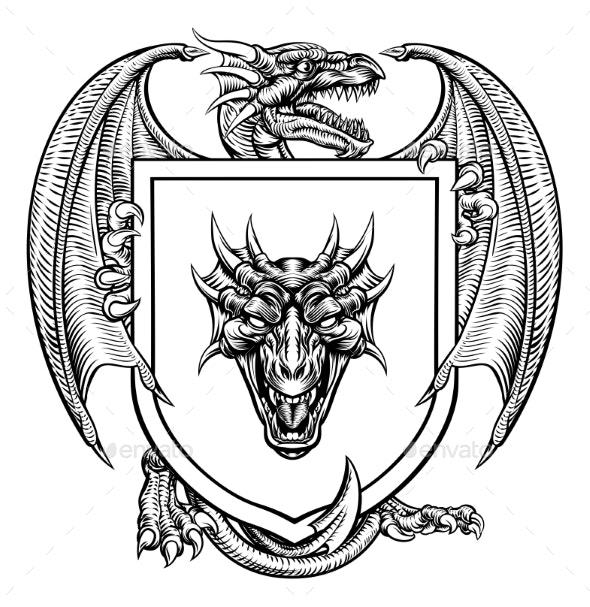 Dragon Heraldic Crest Coat of Arms Emblem Shield - Miscellaneous Vectors