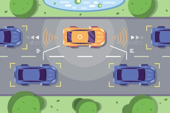 Autonomous Car Driving on Road - Man-made Objects Objects