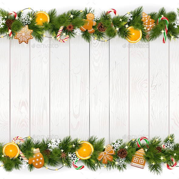Vector Christmas Background with White Plank - Christmas Seasons/Holidays