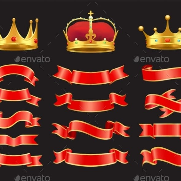 Ribbons and Crowns Set Isolated on Black Backdrop