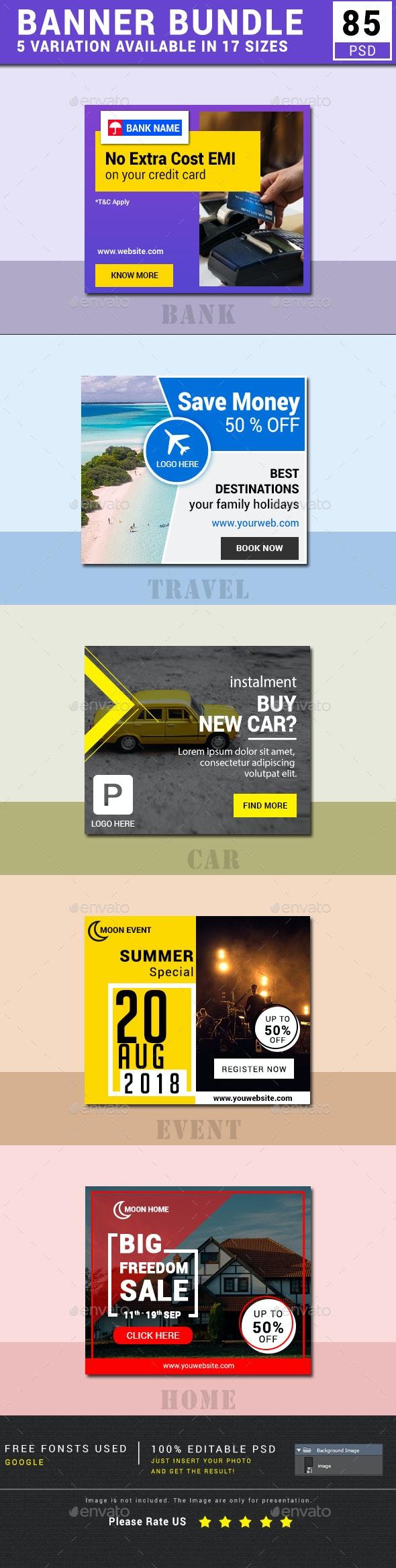 Banner Bundle (Travel, Bank, Car, Event, Real Estate ) - Banners & Ads Web Elements