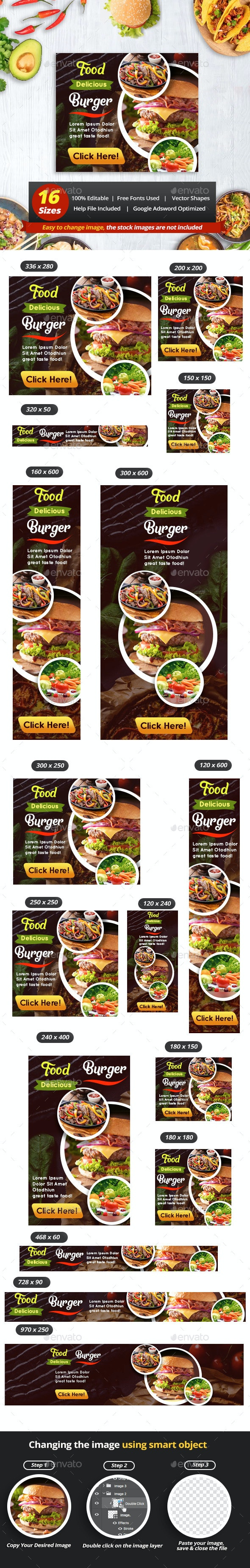 Business Food Restaurant Banner Ads - Banners & Ads Web Elements