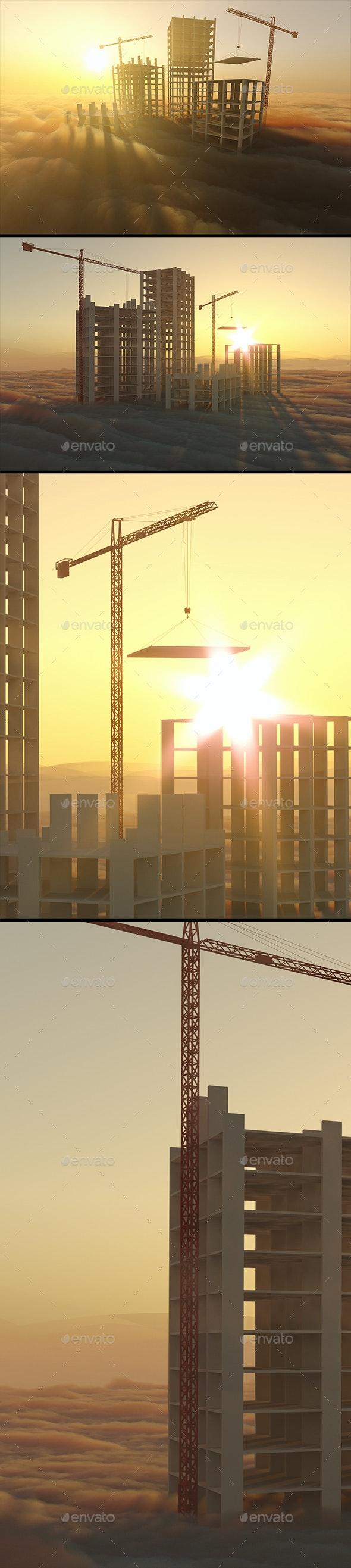 Skyscrapers Under Construction - 3D Backgrounds