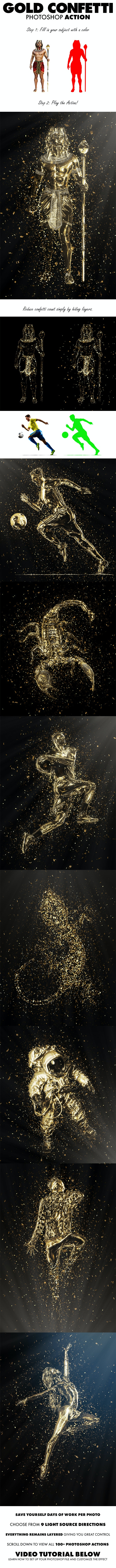 Gold Confetti Photoshop Action - Photo Effects Actions