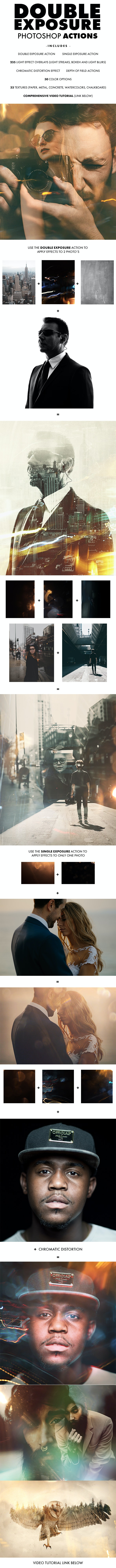 Double Exposure Photoshop Actions - Photo Effects Actions