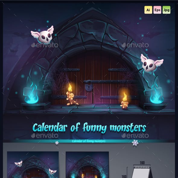 Calendar 2019 of funny monsters