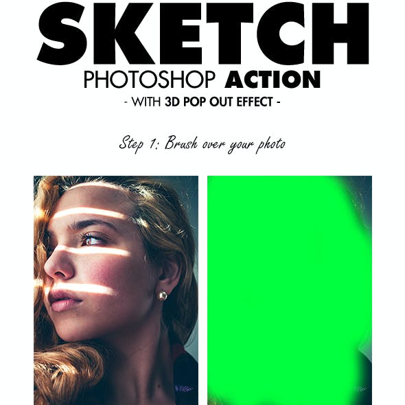 Sketch Photoshop Action (With 3D Pop Out Effect)
