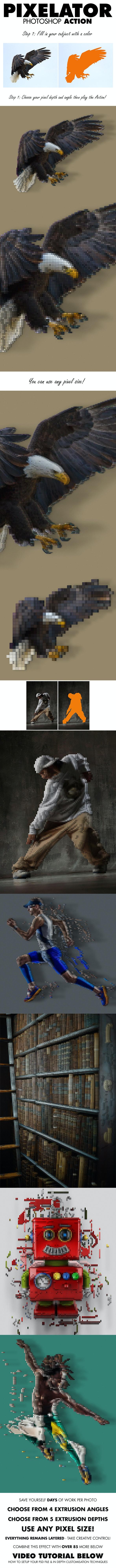 Pixelator Photoshop Action - Photo Effects Actions