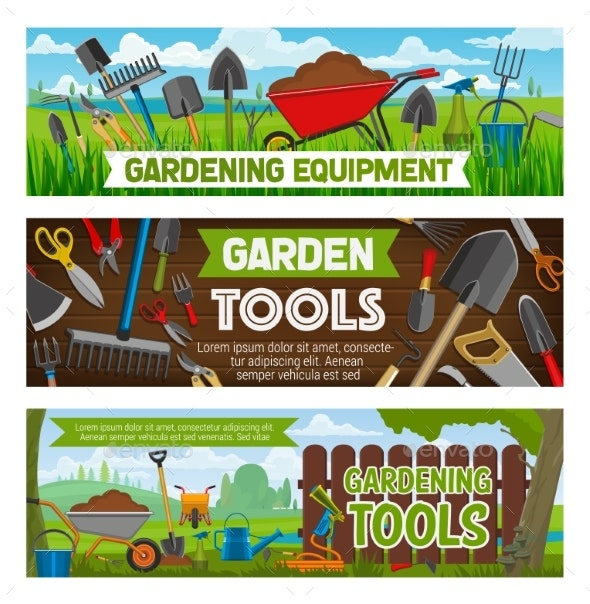 Gardening Banners Vector Gardener Equipment - Conceptual Vectors