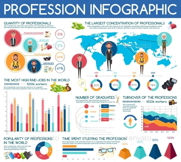 Professions Vector Infographic Statistic Charts - People Characters