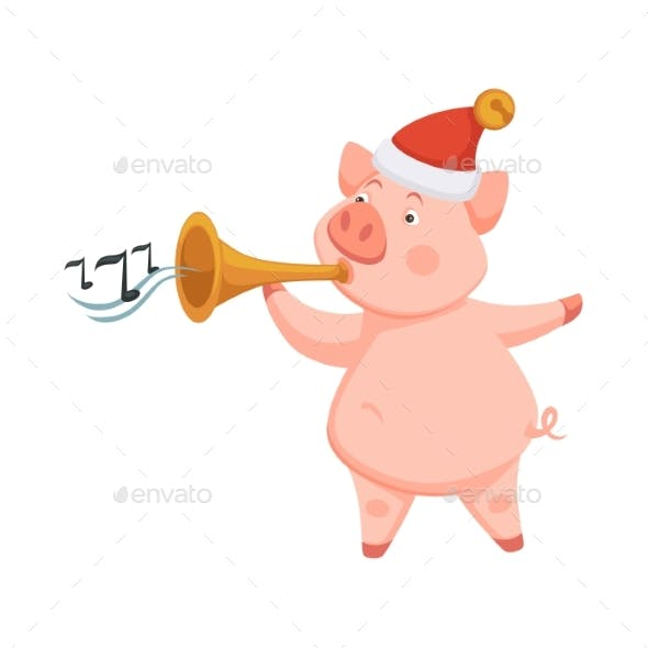 Pig Symbol of 2019 Approaching New Year