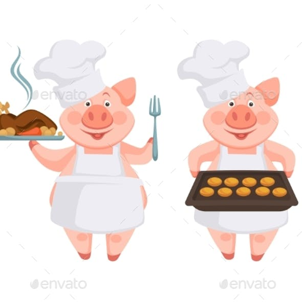 Piggy Cooking Different Dishes