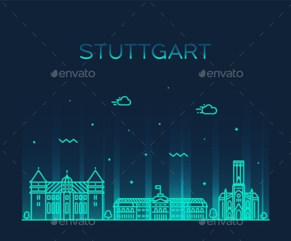 Stuttgart City Skyline German Vector Linear Style - Buildings Objects