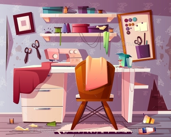 Vector Dirty Tailor Room Mess in Studio - Backgrounds Decorative