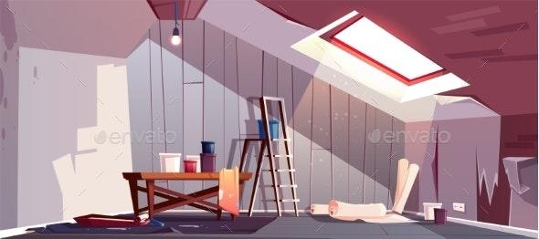 Vector Attic Repair - Buildings Objects