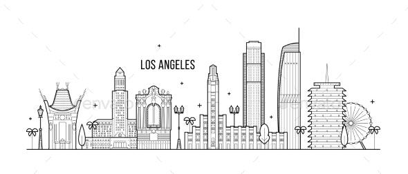 Los Angeles Skyline USA Big City Buildings Vector - Buildings Objects