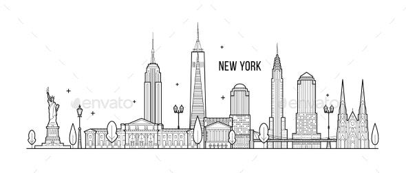 New York Skyline USA Big City Buildings Vector - Buildings Objects