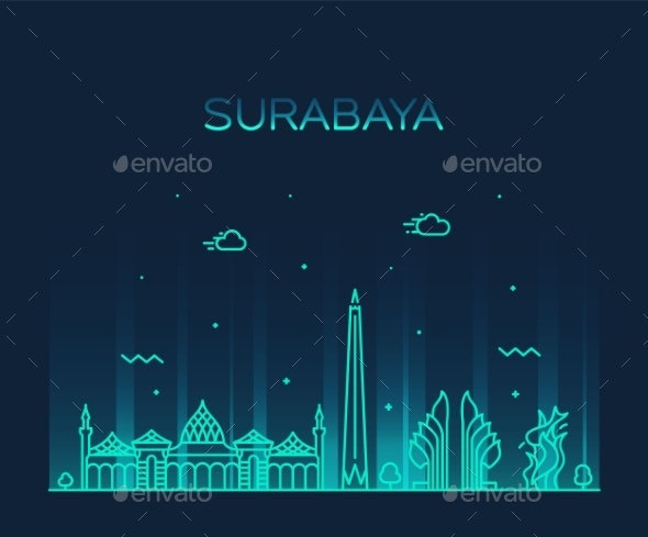 surabaya skyline east java indonesia vector linear by gropgrop graphicriver https graphicriver net item surabaya skyline east java indonesia vector linear 22909676
