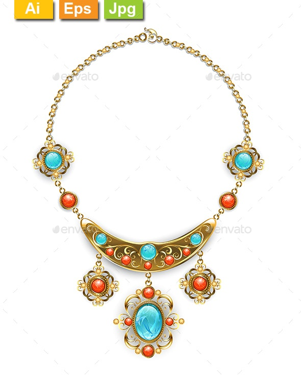 Necklace with Blue Gems - Man-made Objects Objects