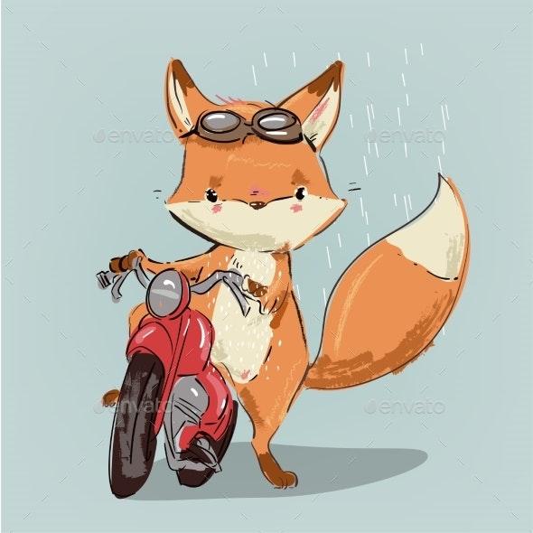 Fox on Bike - Animals Characters