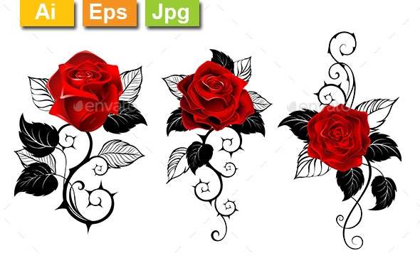 Three Red Roses for Tattoo - Tattoos Vectors