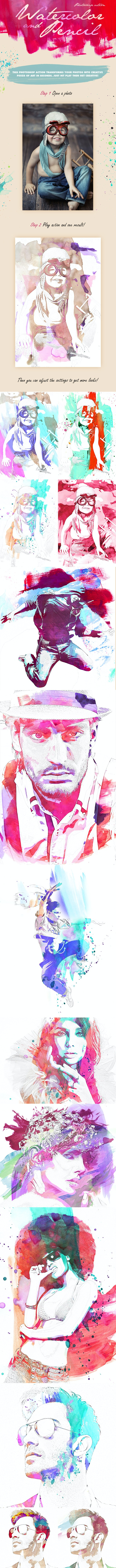 Watercolor & Pencil Photoshop Action - Photo Effects Actions