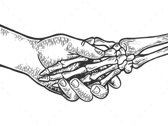 Death Skeleton Handshake Engraving Vector - Miscellaneous Vectors