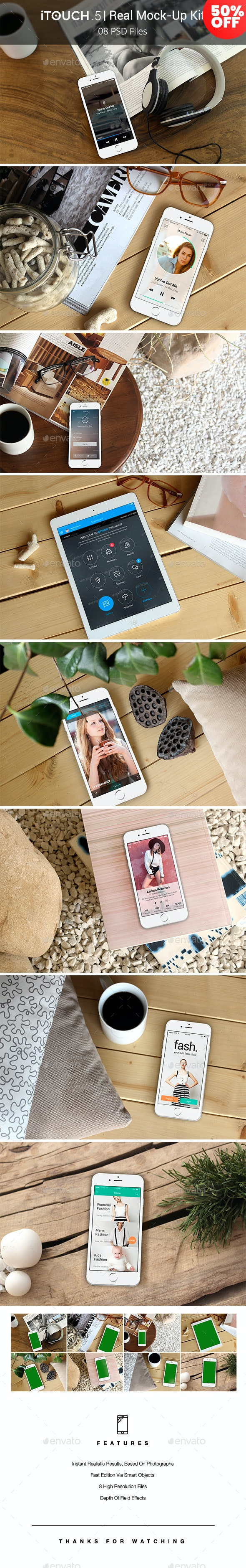 iTouch 5 | 08 Photorealistic MockUp - Mobile Displays