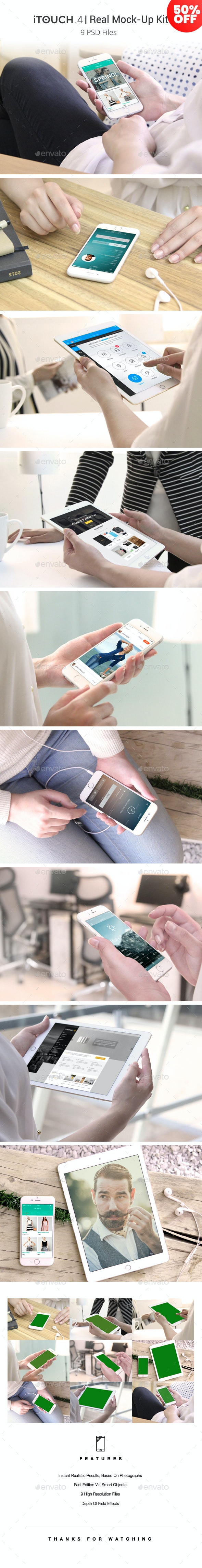 iTouch 4 | 09 Photorealistic MockUp - Mobile Displays