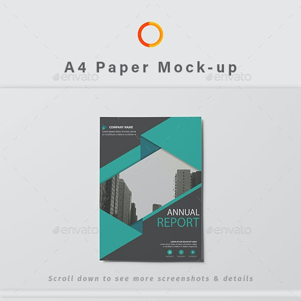 A4 Paper Photoshop Mock-up