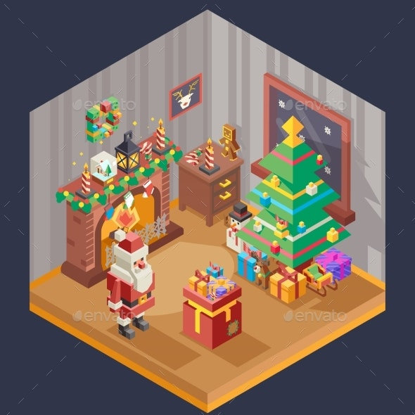 New Year Isometric Room Fireplace Christmas Tree - Seasons/Holidays Conceptual