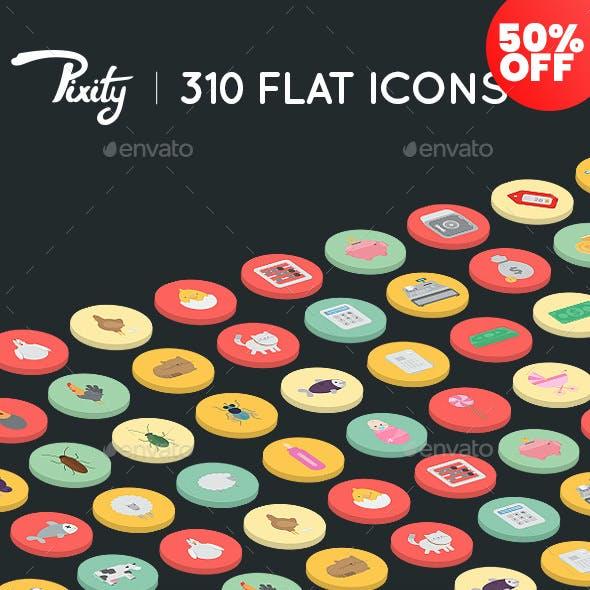 Pixity - 310 Flat Icons