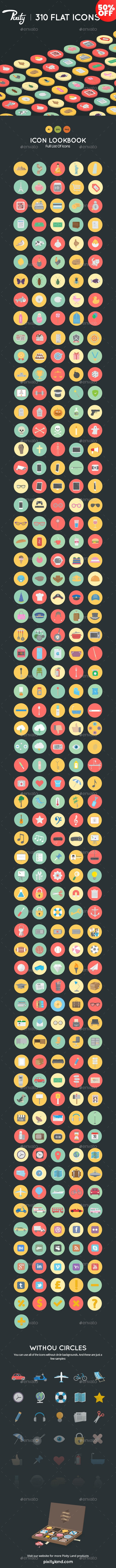 Pixity - 310 Flat Icons - Miscellaneous Characters