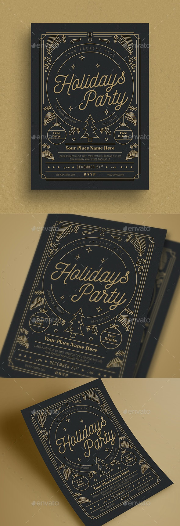 Gold Holiday Party Flyer - Holidays Events