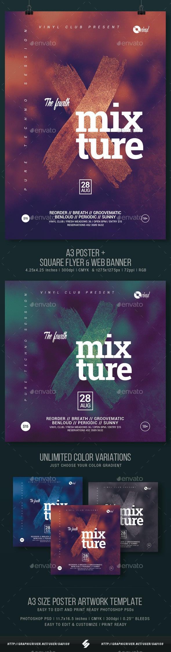 Mixture vol.4 - Club Party Flyer / Poster Template A3 - Clubs & Parties Events
