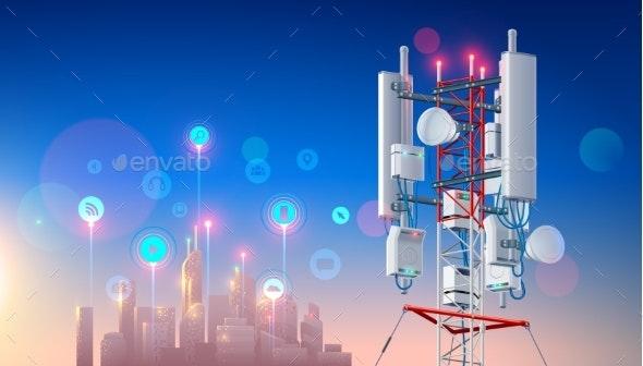 Antenna for Wireless Network  Telecommunication Station  Smart City   Hi-speed Mobile Internet