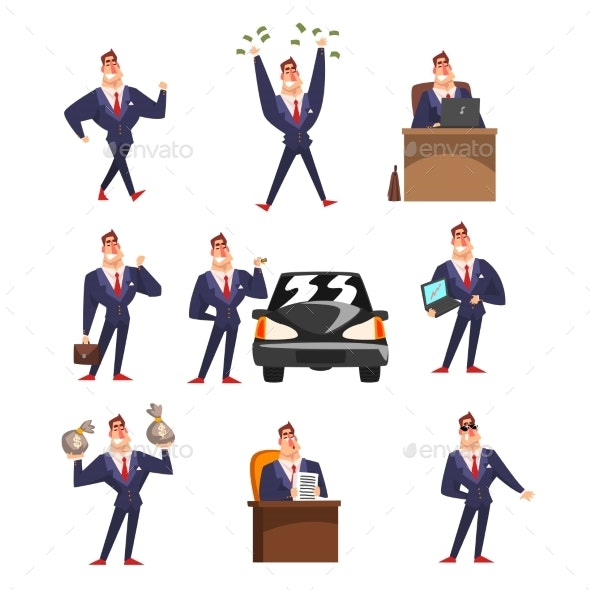 Smiling Self Confident Businessman - People Characters