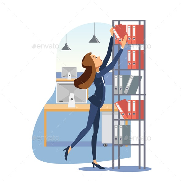 Young businesswoman working with documents vector - People Characters