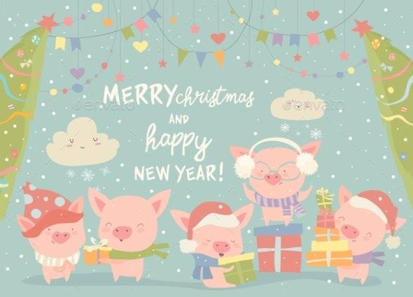 Cartoon Pigs with Christmas Gifts - Christmas Seasons/Holidays