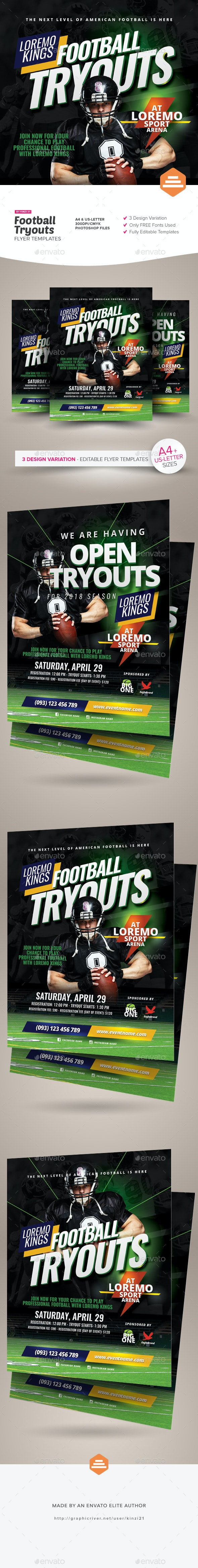 Football Tryouts Flyer Templates - Sports Events