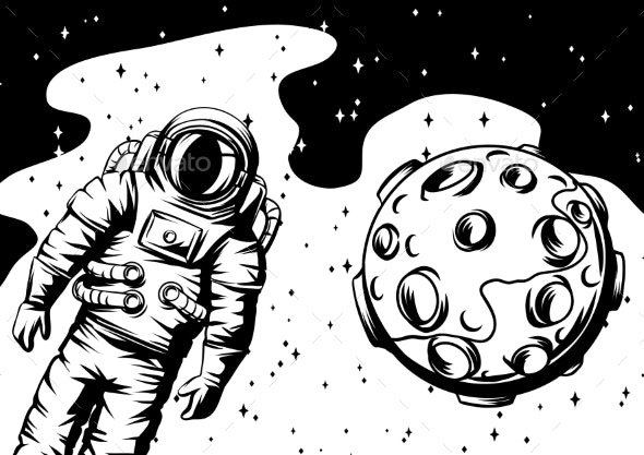 Illustration of Astronaut with Moon - Miscellaneous Vectors