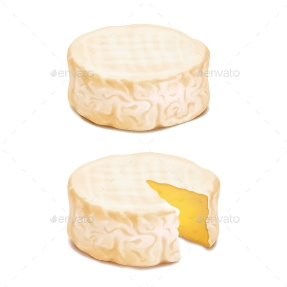 Camembert or Brie Cheese Block - Food Objects