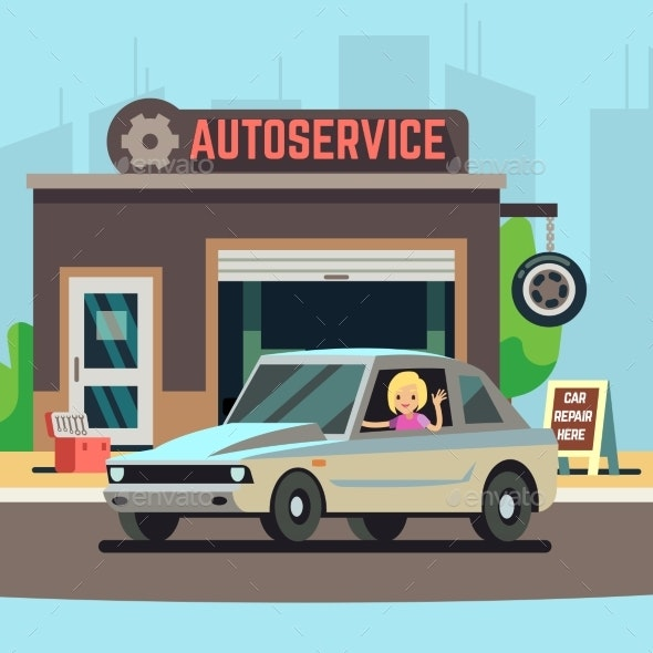 Happy Woman Driver on Car Service Station - Miscellaneous Vectors