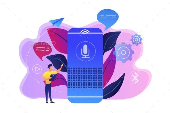 Smart Speaker Concept Vector Illustration. - Technology Conceptual