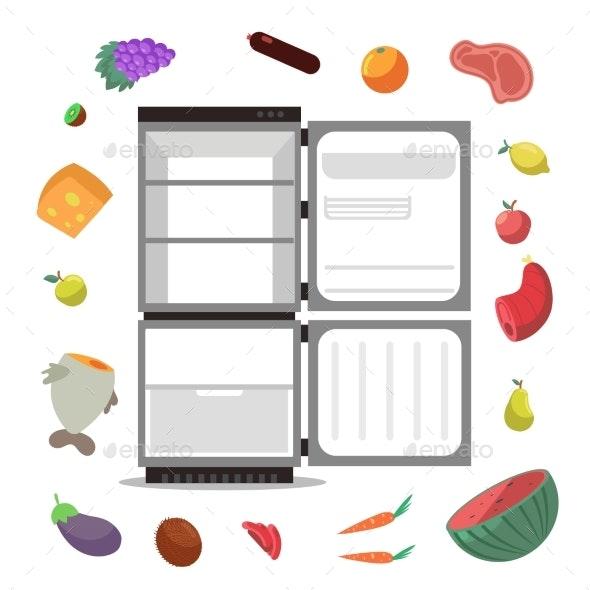 Open Empty Fridge with Healthy Food Diet Vector - Miscellaneous Vectors