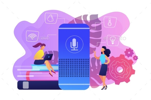 Smart Home Hub and Home Assistant Concept Vector - Technology Conceptual