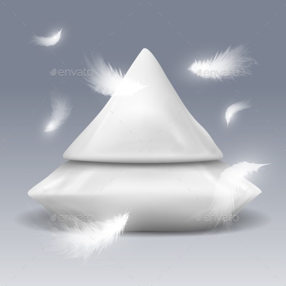 Pyramide From Pillows with White Feathers Vector - Objects Vectors