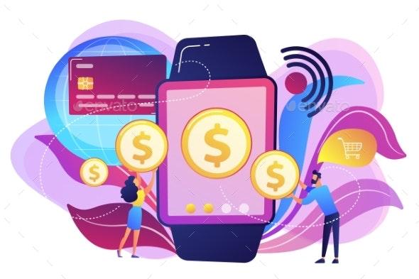 Smartwatch Payment Concept Vector Illustration. - Technology Conceptual
