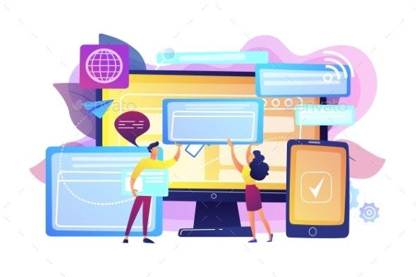 Cross-browser Compatibility Concept Vector - Technology Conceptual